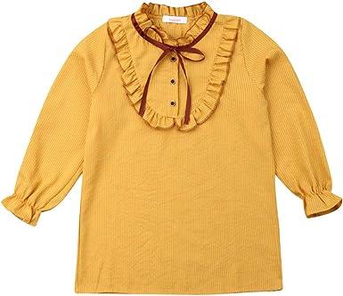 Blusa de Manga Larga para niñas con Volantes y Lazo, con diseño de Rayas, para niña y Princesa, Ropa Informal de otoño 6M-4T Amarillo Amarillo 12-14 años: Amazon.es: Ropa y accesorios
