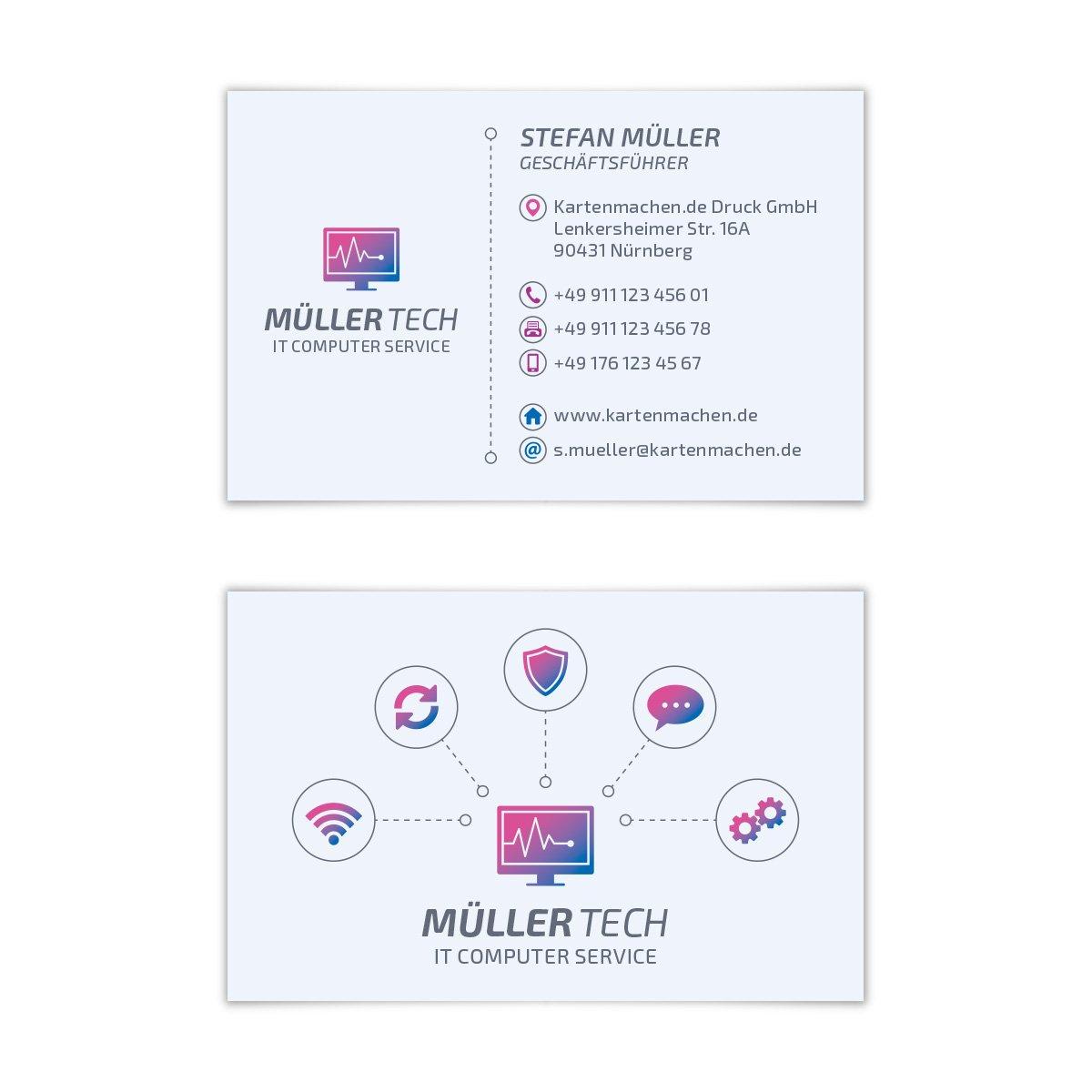 500 x x x Visitenkarten individuell Business Karten 300g qm 85 x 55 mm - IT Computer Service B07F45FD5Z | Ruf zuerst  | Angemessener Preis  | Lebensecht  4a4422