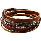 Brown Leather Wristband cuff bracelet, friendship gift, brown ropes bracelet, women wrap bracelet, men wrap bracelet SL2338