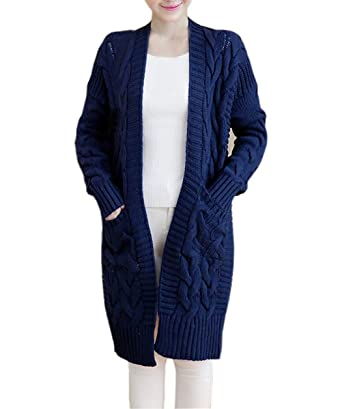 NUTEXROL Women's Open Front Long Sleeve Knit Think Cardigan Chunky ...