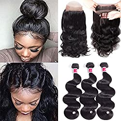 Wigirl Hair 8A Grade 360 Lace Frontal Closure With Bundles Brazilian Body Wave Virgin Hair Bundles With 360 Lace Frontal Unprocessed Human Hair With Frontal (10 12 14 With 10)