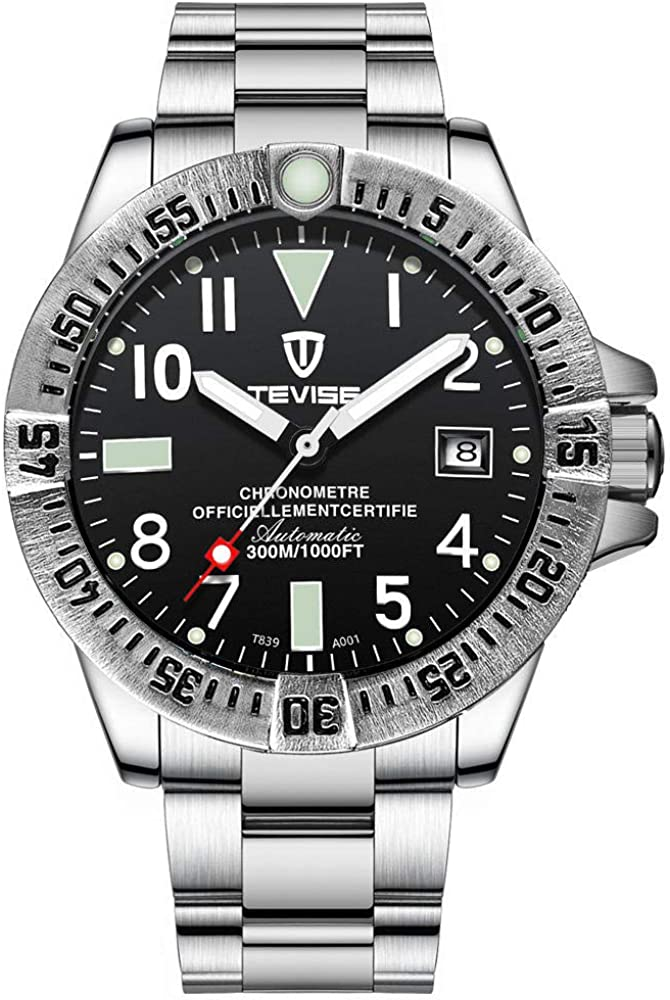 Montres, Montre mécanique Automatique pour Hommes, Montre-Bracelet à chronographe Professionnelle en Acier Inoxydable, Date D