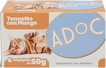 Adoc Naturale Tonnetto con Manzo per gatti adulti, 8 confezioni multipack da 6 pezzi