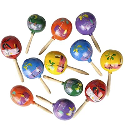 Rhode Island Novelty 7 Inch Genuine Mexican Maracas (Colors May Vary) (Pack of 2): Toys & Games