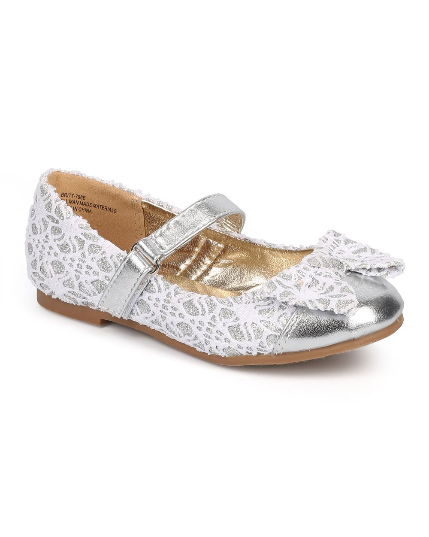Metallic Glitter Lace Bow Mary Jane Ballerina Flat (Toddler/Little Girl/Big Girl) DB62 - Silver (Size: Big Kid 3)