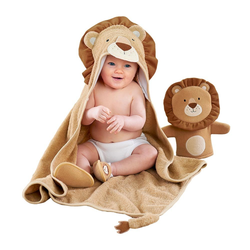 Baby Aspen Lion 3-Piece Bath Time Gift Set, Tan/Brown/Beige, 0-6 Months by Baby Aspen