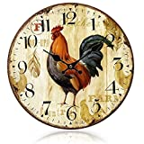 European-styled Country Rooster Wood Wall Mounted Clock Home Decoration