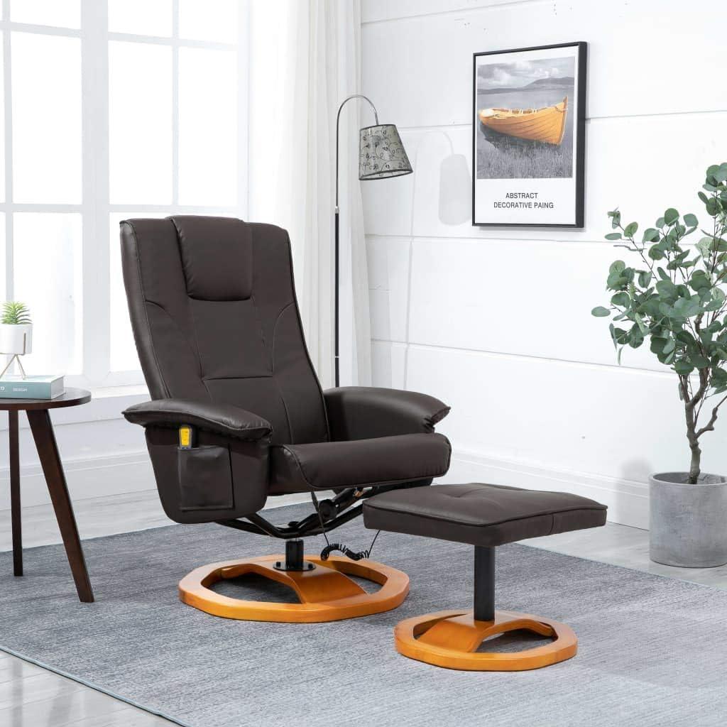 Tidyard Sillón de Masaje Sillón Relax con Reposapiés Relax Muebles de Cuero Artificial marrón