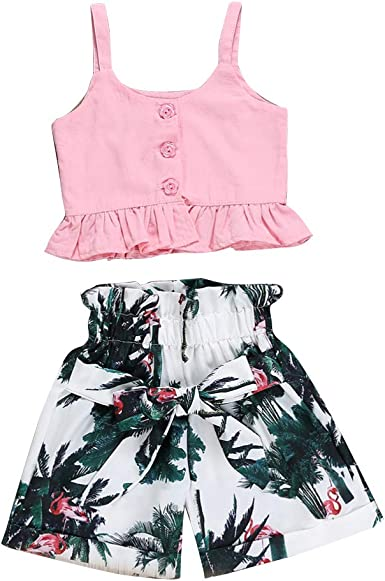 Toddler Baby Girl Clothes Floral T-Shirt Tops Vest Pants Shorts Infant Summer Outfits Set