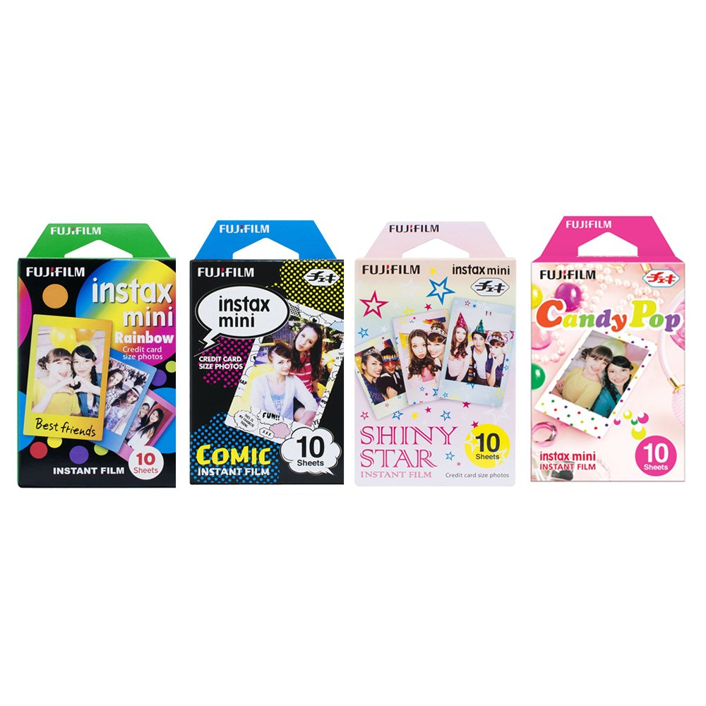 Fujifilm Instax Mini Film 4 Pack Bundle! Rainbow, Comic, Shiny Star, Candy Pop 10 X 4 = 40 Sheets Assort Set + withC Microfiber Cleaning Cloth for Camera Lenses FUJIFILM Corporation PV17IC060
