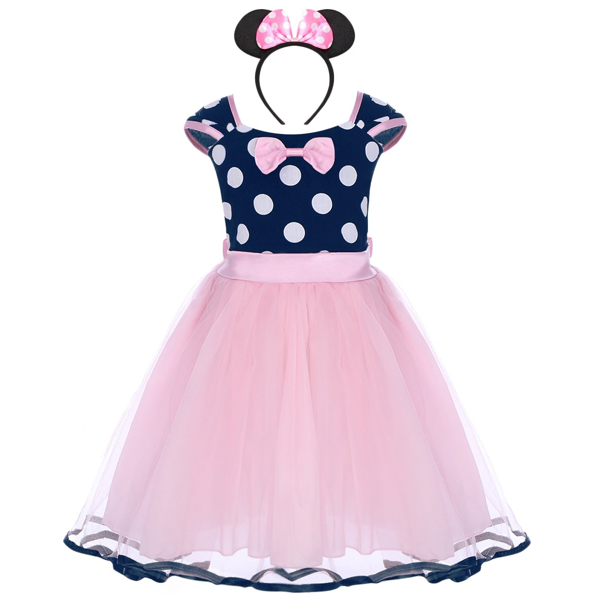 Kids Girls Halloween Party Costume Toddler Polka Dots Bowknot Princess Dress Costumes, Reenactment, Theater