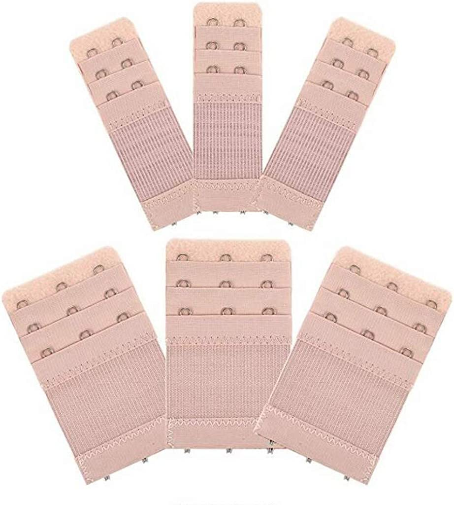 3 Rows x 3 Hooks Elastic Stretchy Bra Extension Strap Aomili 6Pcs Women Khaki Bra Extenders
