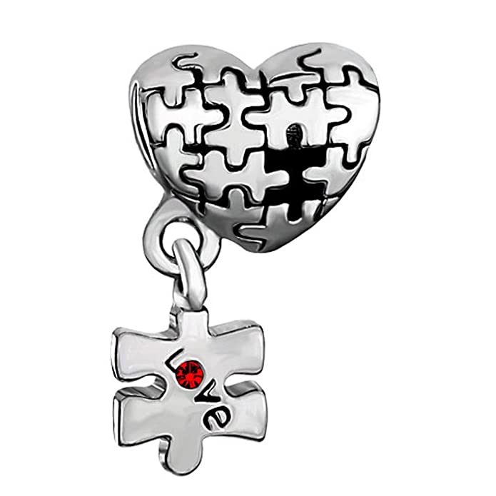 Sug Jasmin Autism Awareness Charm Puzzle Heart Love Beads For Charm Bracelets x0eeDr