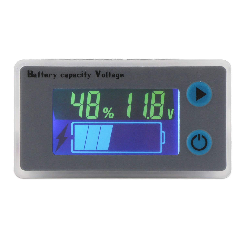 DollaTek Monitor de Capacidad de la bater/ía 10-100V Bater/ía programable Medidor de Temperatura de Voltaje Medidor 12V 24V 36V 48V Pantalla LCD Indicador de Porcentaje