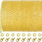 TecUnite 33 Feet Gold Plated Link Chain Necklace with 30 Jump Rings and 20 Lobster Clasps for Jewelry DIY Making (3 x 4 mm)