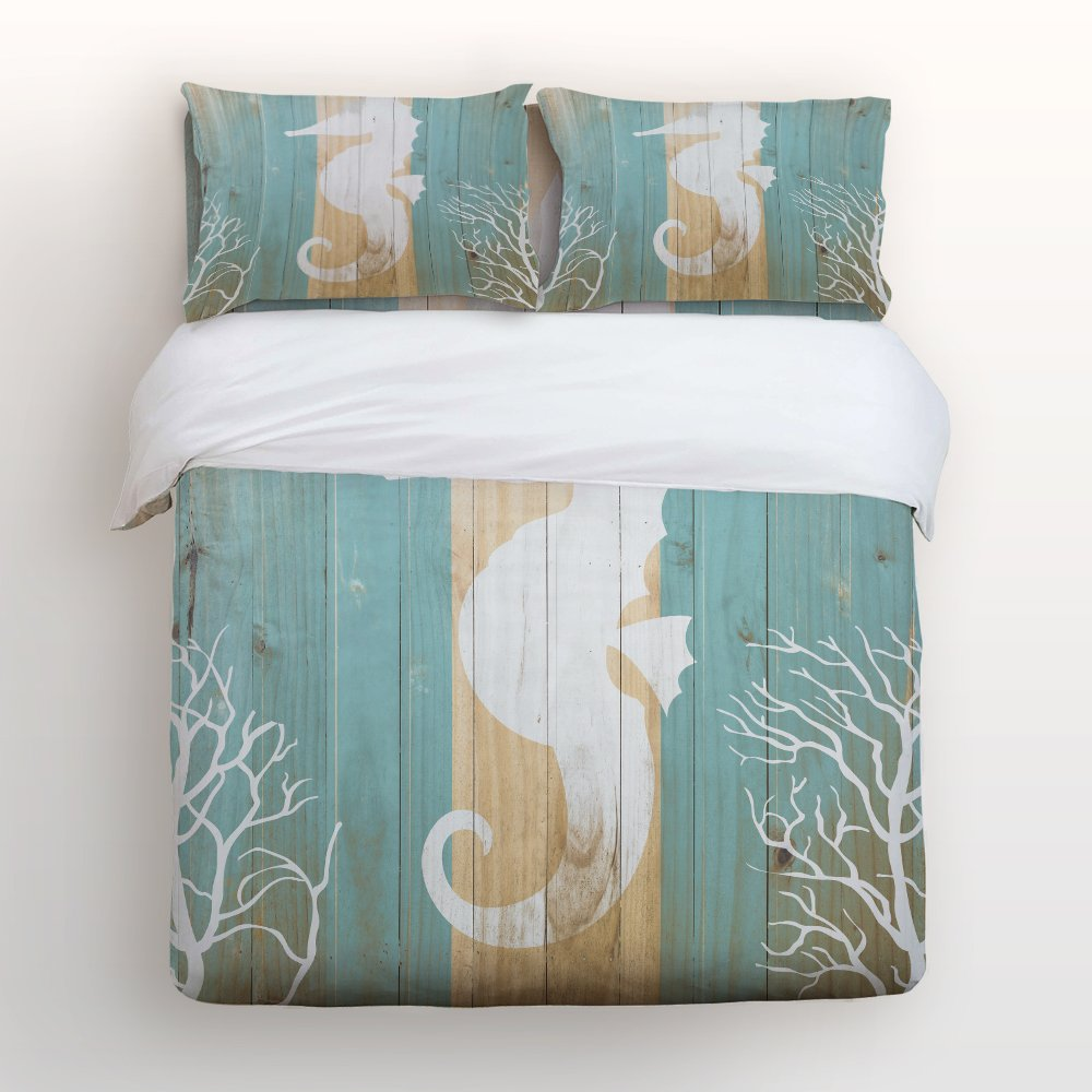 Libaoge 4 Piece Bed Sheets Set, Seahorse Under Water Sealife on Rustic Old Barn Wood, 1 Flat Sheet 1 Duvet Cover and 2 Pillow Cases