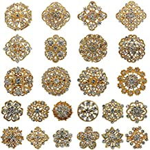 WeimanJewelry Silver/Gold Plated 24pcs Crystal Rhinestones Brooch Pins for DIY Wedding Bouquets Kit