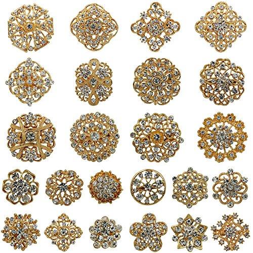 WeimanJewelry Lot 24pcs Rhinestone Crystal Brooch Pins Set Wedding Bouquet Broaches Kit (Gold)