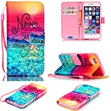 iPhone 6S Case,iPhone 6 Case,JanCalm [Wrist Strap Design][Kickstand] Pattern Premium PU Leather Wallet [Card/Cash Slots] Flip Cover for iPhone 6/6SIncluding-ONE Crystal Pen (Never stop)
