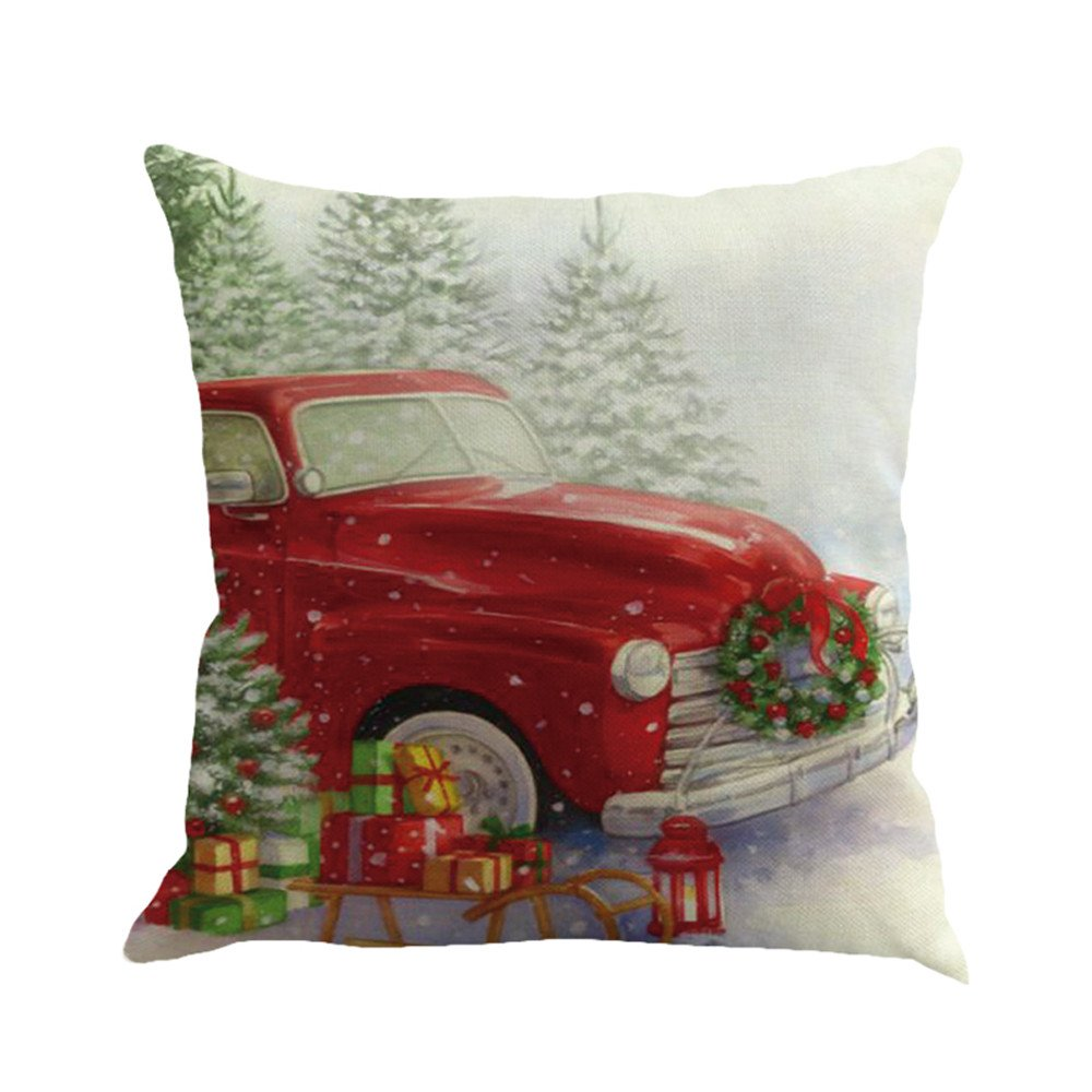 Christmas Printing Dyeing Sofa Bed Home Decor Pillow Cover Cushion Cover D