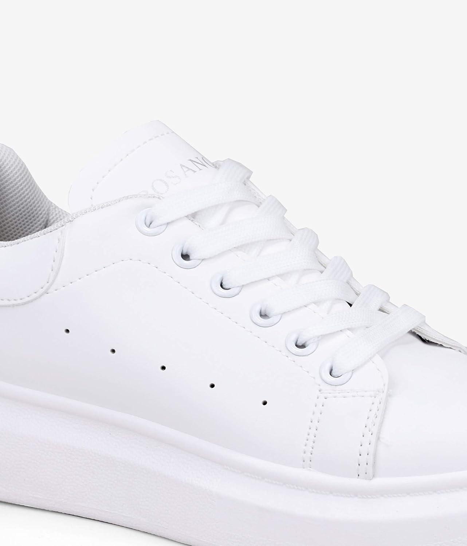 Cierre con Cordones para Mujer Calzan Peque/ñas BOSANOVA Zapatillas en Total Look Blanco con Suela Lisa de 4 cm y Detalle de Logo Plateado en la leng/üeta