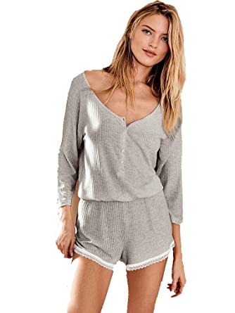 46c18708dba Image Unavailable. Image not available for. Color  Victoria s Secret Long  Sleeve Grey Ribbed Romper Large