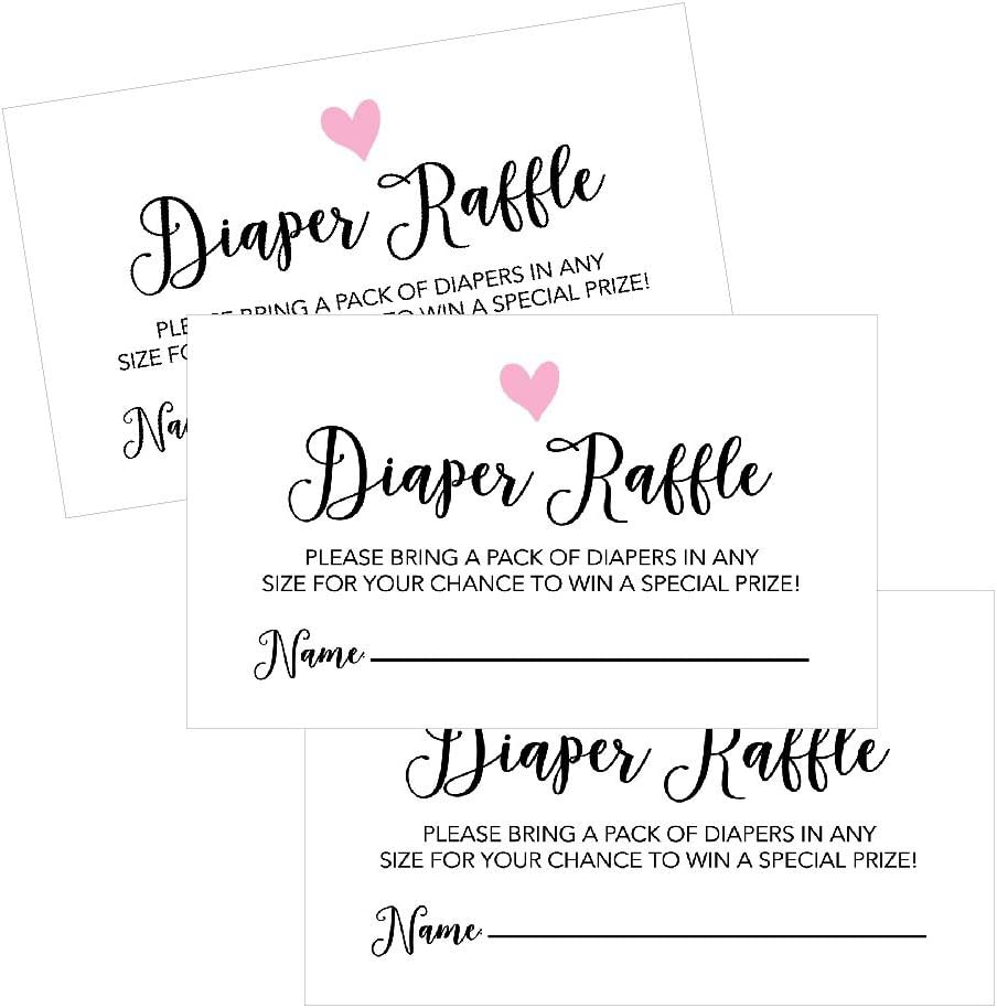 Baby Shower Invitations Inserts Request Cards Games Decorations Supplies - Bring a Pack of Diapers to Win a Prize 50 Pack 50 Diaper Raffle Tickets for Baby Shower Girl