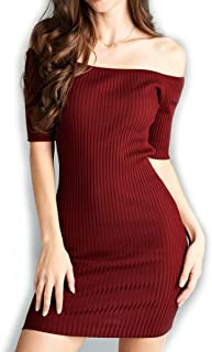 product image for Jubilee Couture Womens Knit 3/4 Sleeve Off Shoulder Rib Short Mini Dress