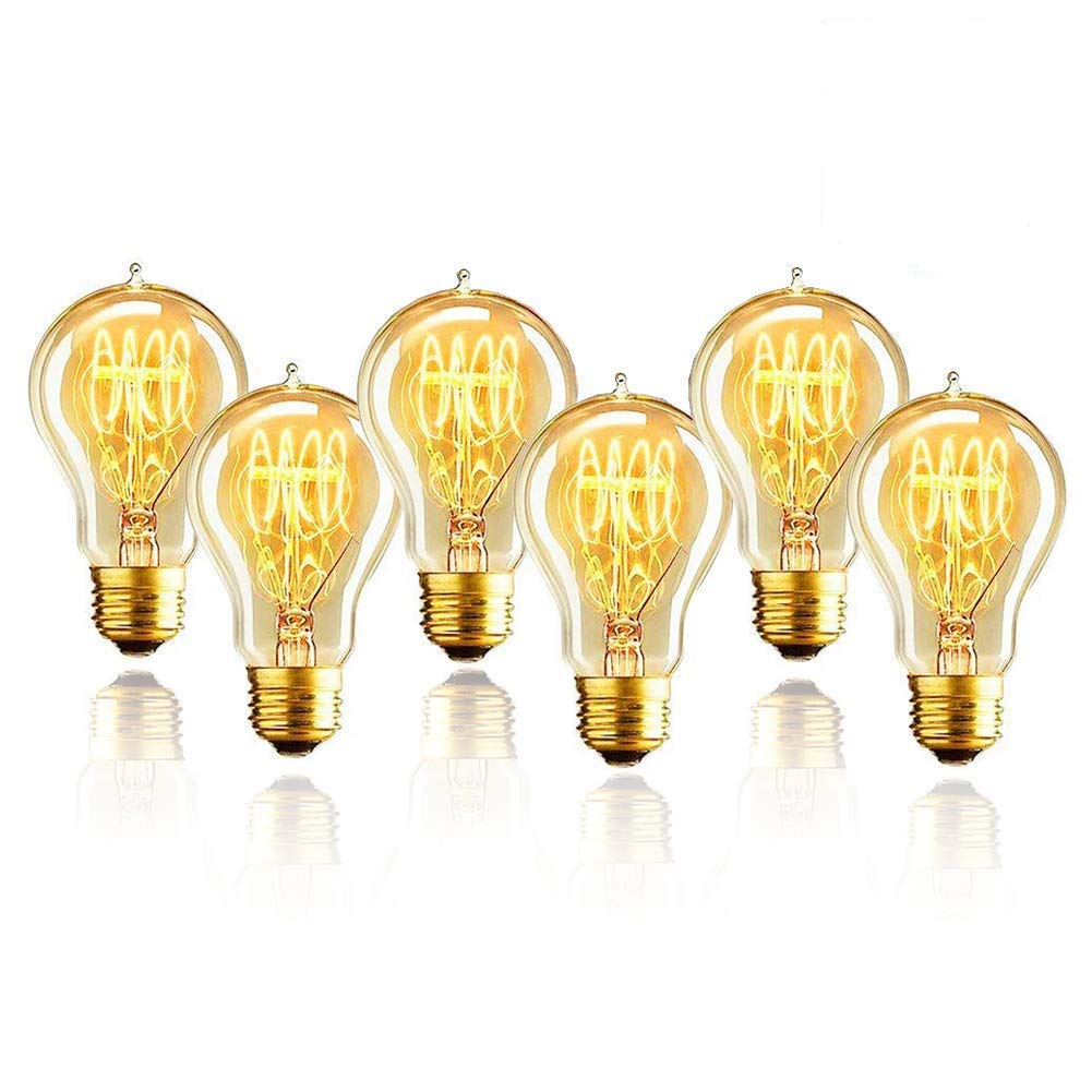 6-Pack 40 Watt Edison Round A19 Vintage Bulbs -E26 Base Victorian Style - 4.4 in. Length - Quad Loop Filament - Amber Tinted Antique Classic Tungsten Filament Edison Bulbs for Decor