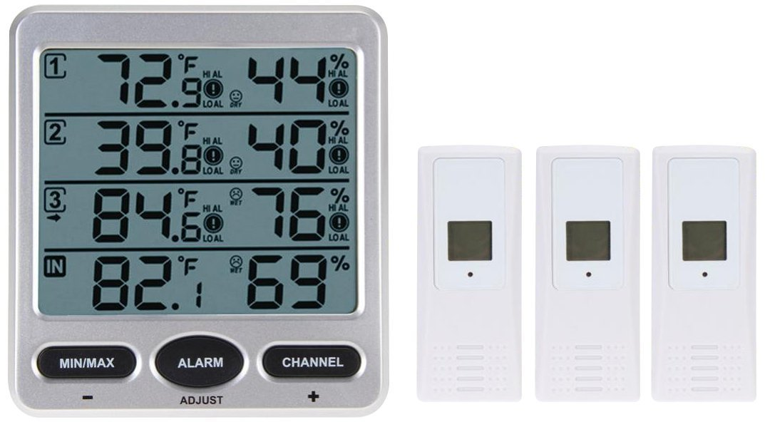 Queta Ambient Weather WS-10 Wireless Indoor/Outdoor 8-Channel Thermo-Hygrometer with Three Remote Sensors