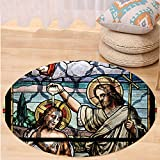 VROSELV Custom carpetBaptism Decorations Jesus Christ Baptism By Saint John The Baptist Christianity Worship Window Illustrations Bedroom Living Room Dorm Decor Round 79 inches