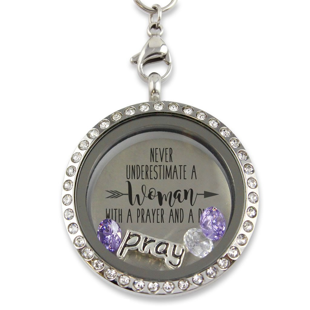 ''Praying Woman'' Floating Charm Living Memory Locket Magnetic Closure 30mm Stainless Steel Pendant Necklace with Crystal Charms