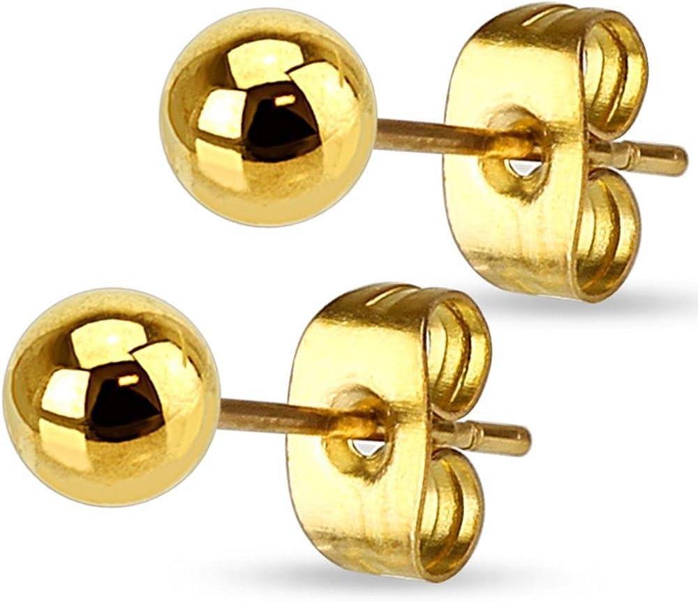 Pendientes en acero–Perla 6mm–dorado–Bijou Fantasía mujer