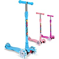 OUTON Kick Scooter for Kids 3 Wheel Scooter, 4 Adjustable Height, Lean to Steer with LED Light Up Wheels for Children Ages 3-12 Years Old