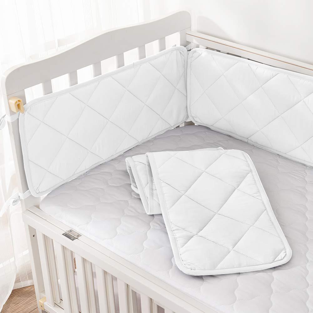 Bamuho Crib Bumpers Safe /& Soft Baby Liner Thick Crib Padding Protector for Slats,for Boys Girl 52 x 28 White