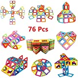 Magnetic Blocks, Magnetic Building Blocks Set 76 PCS, Magnetic Tiles, Educational Toys for Baby/ Kids (76Pcs Magnetic Blocks)