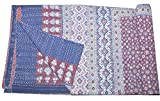 Tribal Asian Textiles Queen Size Ajarak Kantha Quilt Cotton Reversible Ralli Bed Spread Blanket Throw (Blue Rustic Design)