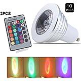 ELINKUME 10X GU10 RGB Ampoule LED 3W 16 Couleurs Changement RGB LED Bulb 150-180LM LED avec Télécommande à Boutons AC95-240V