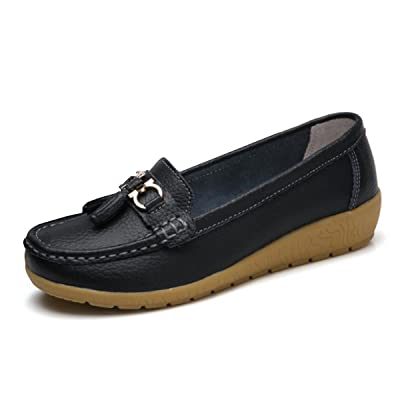 Women Loafers Leather Rubber Sole Slip On Walking Flats Casual Moccasin Boat Shoes | Loafers & Slip-Ons
