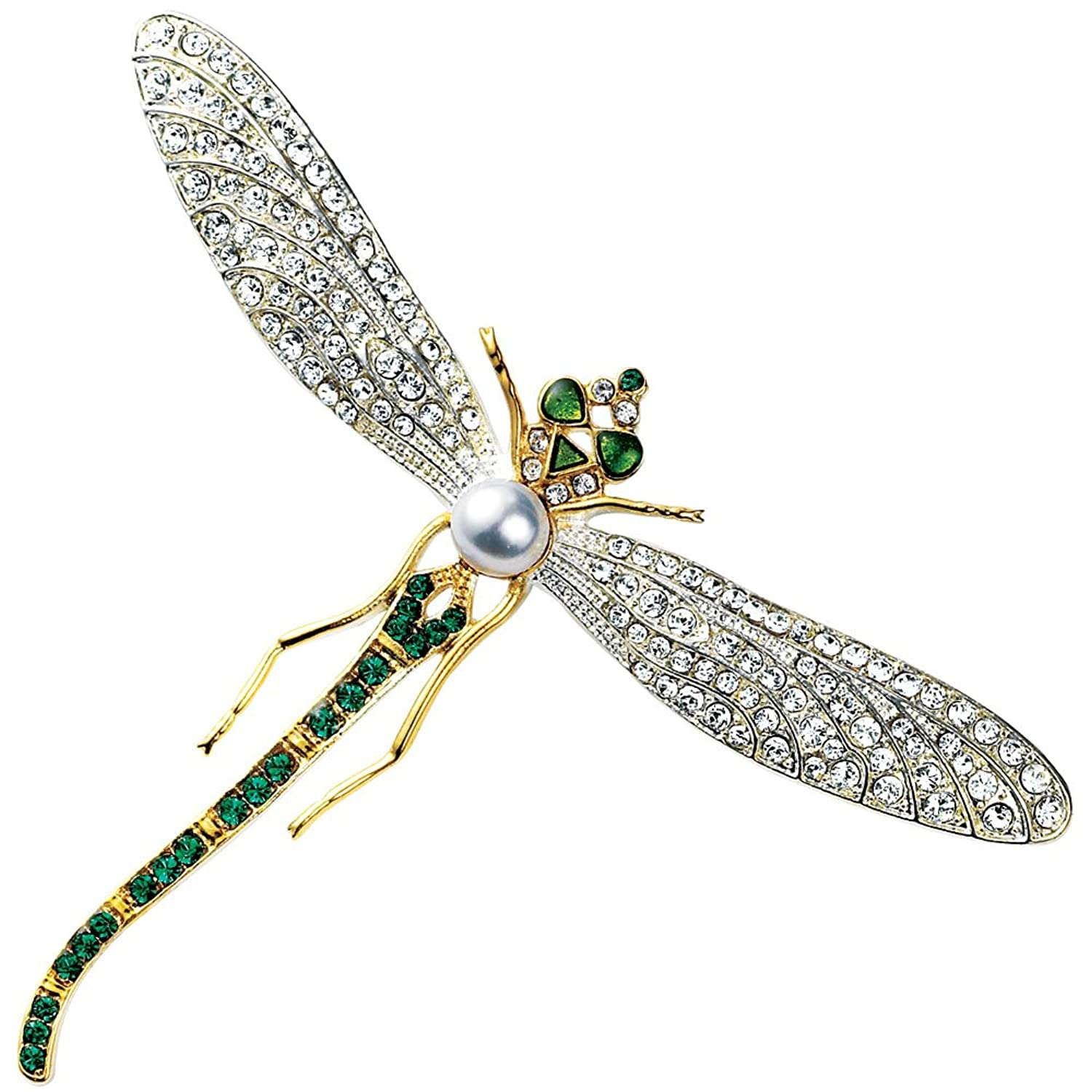 Faux Diamond Brooch with Faux Emeralds & Pearl Costume Jewelry Dragonfly Brooch