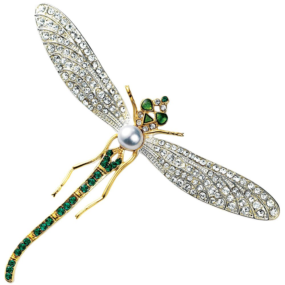 Faux Diamond Brooch with Faux Emeralds & Pearl Costume Jewelry Dragonfly Brooch by MMA