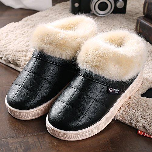 Y-Hui invierno zapatillas de algodón con bolsa de cuero zapatillas zapatillas al final del invierno, el viejo hombre grueso Zapatos impermeables black