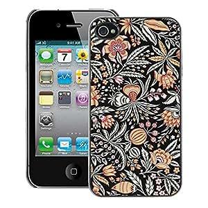 A-type Arte & diseño plástico duro Fundas Cover Cubre Hard Case Cover para iPhone 4 / 4S (Drawn Pattern Flower Black Paint)