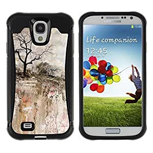 KROKK CASE Samsung Galaxy S4 I9500 - impressionism painting art rock cliff tree - Rugged Armor Slim Protection Case Cover Shell