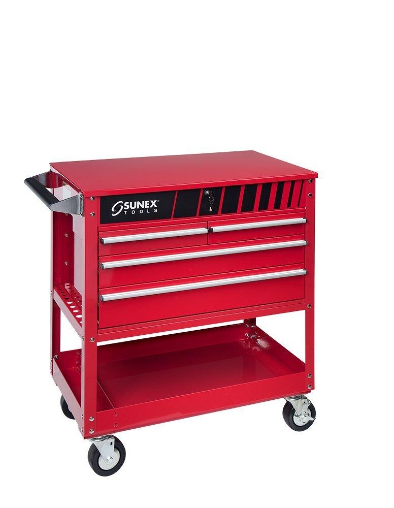 Sunex Tools 8054 Red 4 Drawer Locking Top Service Cart