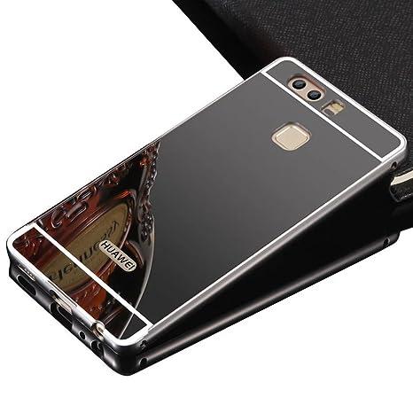 Carcasa para Huawei P9 Plus, Sunroyal® ultrafina acrílica cubierta de caso protección Trasera Funda Estructura Metálica Efecto espejo de aluminio ...