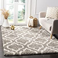 Safavieh Hudson Shag Collection SGH284B Grey and Ivory Moroccan Geometric Area Rug (8' x 10')