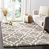 Safavieh Hudson Shag Collection SGH284B Grey and Ivory Moroccan Geometric Area Rug (5'1' x 7'6')