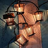 1.5m/4.9ft 10 Bulbs Vintage Bronze Iron Nets Lanterns Plug-in Fairy String Light Great for Indoor/Outdoor Wedding Party Home Room Decorations, Best Ambience Decorative Lights 110V
