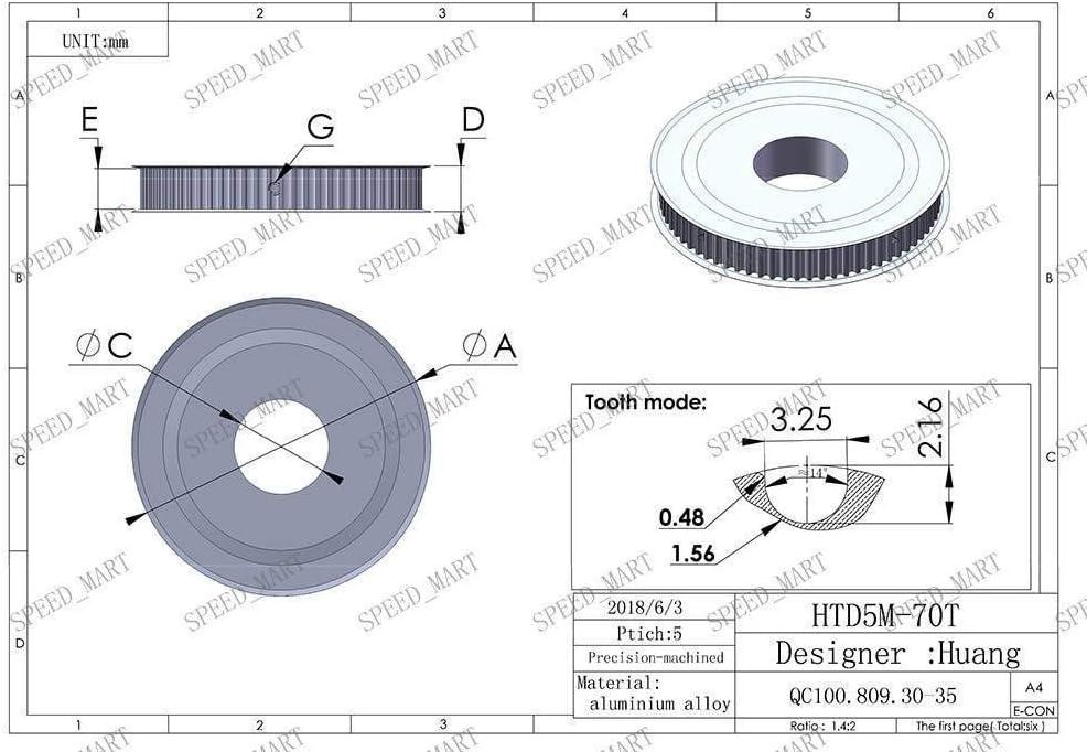 HTD5M70T Aluminum Timing Belt Pulley 70 Teeth 12mm Bore 16mm width Stepper Motor
